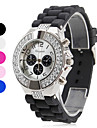 Women's Diamante Silver Case Silicone Band Quartz Analog Wrist Watch (Assorted Colors) Cool Watches Unique Watches