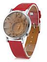 femmes de style creux numéros pu analogique montre-bracelet à quartz (rouge)