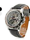 pu homens analógico relógio de pulso mecânico (preto)