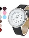 серебряный женский корпус часов стиль Кожа PU аналоговые кварцевые наручные часы с кристаллами (разных цветов)