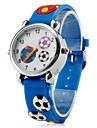 Детские кварцевые наручные часы с синим силиконовым ремешком в футбольном стиле