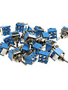 20 штук синих мини DPDT гитара переключатель (на-на)