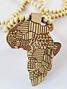남성용 팬던트 목걸이 나무 지도 아프리카 블랙 옐로우 레드 보석류 일상 캐쥬얼 크리스마스 선물