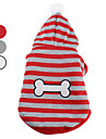 Dog Hoodie Red / White / Gray Dog Clothes Spring/Fall Stripe