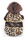 estampa de leopardo sherpa casaco com capuz quente para cães (xs-xl)