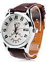 reloj de pulsera banda de los hombres-mecánico auto dial blanco marrón pu
