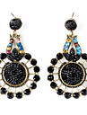 Round Diamond Style Retro Earrings for Women (Black)