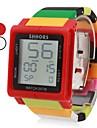 unisexe montre d'écran tactile numérique colorée en plastique de poignet de bande (couleurs assorties)