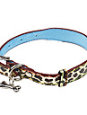 Dog Collar Adjustable/Retractable / Leopard / Bone Brown PU Leather