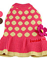 Dog Sweater Brown / Pink Dog Clothes Winter Polka Dots