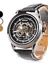 Homens Relógio Esqueleto relógio mecânico Automático - da corda automáticamente Gravação Oca Couro Banda Luxuoso Preta