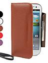 estojo de couro pu com carteira e slot para cartão de i9300 Samsung Galaxy S3