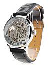 남성 기계식 시계 손목 시계 중공 판화 오토메틱 셀프-윈딩 PU 밴드 블랙