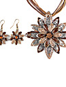 Double Flowers Metal Oil Drip Earring Nacklace Suit