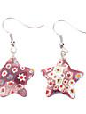 Pentagram Fleur Boucles d'oreilles glacis colorés de modèle
