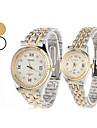 casal estilo unissex aço analógico de pulso de quartzo relógio de estilo casal (prata)