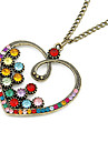 Красочный Crystal Heart сплавов кадра ожерелье