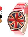Women's UK Flag Pattern PU Band Quartz Analog Wrist Watch (Assorted Colors)