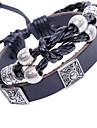 eruner®silver banhado a pulseira de couro preto