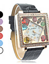 Women's Leather Band Analog Quartz Wrist Watch With Rhinstone Inlaid Colorful Square Dial (Assorted Colors) Cool Watches Unique Watches