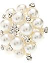 Flower Metal Pearl Adjustable Ring
