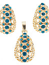 Z&X®  Deal Apple Inserted Green Zircon Earring and Pendant Jewelry Set