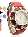 Femmes Steel Band Quartz Analogique Cuff Bracelet Cadran Motif Fleur colorée