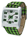 Unisex Green Lattice Style PU Band Quartz Analog Wrist Watch