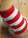 Коты / Собаки Свитера Красный Одежда для собак Зима Полоски Мода / Рождество