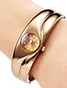 Quartzo da Mulher liga Bracelet Watch analógico (Bronze)