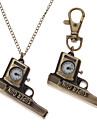 Unisex Gun Style Alloy Analog Quartz Keychain Necklace Watch (Bronze)