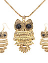 Women's Vintage Owl Bronze Jewelry Set(Necklace & earrings)