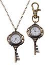 Unisex Key Style Alloy Analog Quartz Keychain Necklace Watch (Bronze)