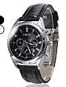 Men's Dress Style Analog PU Quartz Wrist Watch (Black) Cool Watch Unique Watch