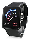 Men's Watch Digital 29 LED Red & Blue Light Black Silicone Strap Wrist Watch Cool Watch Unique Watch
