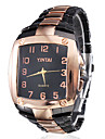 Men's Square Case Black & Gold Alloy Quartz Analog Wrist Watch