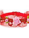 Inflorescence Imitation Leather Button Collar with Little Bell and Lace for Dogs (Assorted Color)