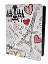 Eiffel Tårn Mønstret Etui i PU Læder med Stander til iPad 2/3/4