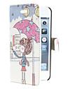 menina segurando guarda-chuva padrão pu couro caso de corpo inteiro para iphone 5/5s