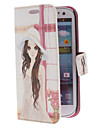 Lovely Girl Pattern PU Leather Case with Stand for Samsung Galaxy S3 I9300