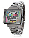 Unisex TV Pattern Square Case Gray Steel Quartz Analog Wrist Watch