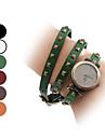 여성의 석영 아날로그 빈티지 스타일의 가죽 팔찌 시계 (분류 된 색깔)