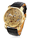 WINNER Masculino Relógio Esqueleto relógio mecânico Automático - da corda automáticamente Impermeável Gravação Oca PU Banda Luxuoso Preta