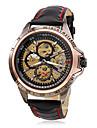 WINNER® Men's Wrist Style PU Analog Mechanical Hollow Watch (Black) Cool Watch Unique Watch Fashion Watch