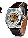 SHENHUA Мужской Часы со скелетом Механические часы С гравировкой С автоподзаводом Кожа Группа Черный Коричневый