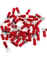 Copper Cable Wire Fork Terminal Connector - Red + Silver (3MM / 50 Piece Pack)
