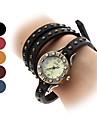 Unisexe analogique à la mode Bracelet en cuir de style montre à quartz (couleurs assorties)