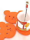 Bear Shaped Felt Coaster Cup Mat (Random Color)