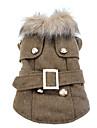 Элегантная куртка для собак в европейском стиле с меховым воротником и ремешком