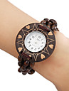 Women's Wood Analog Quartz Bracelet Watch (Brown)